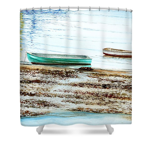 Rocky Neck Runabout Skiff Shower Curtain