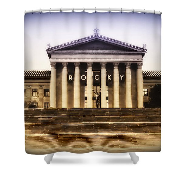 Rocky On The Art Museum Steps Shower Curtain