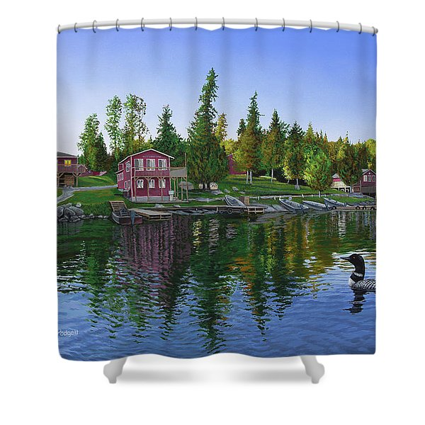 Rocky Shore Lodge Shower Curtain