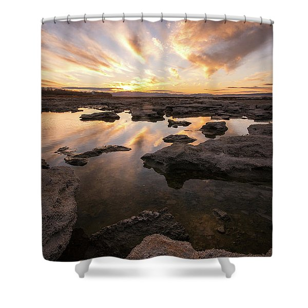 Rocky Shores Of Utah Lake Shower Curtain