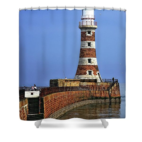 Roker Lighthouse Portrait Shower Curtain