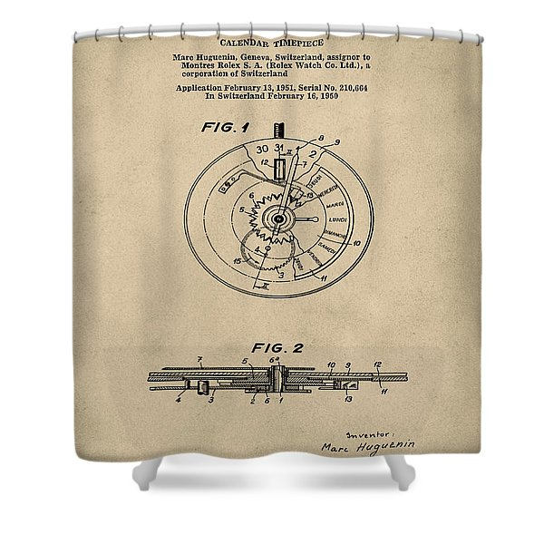 Rolex Watch Patent 1999 In Old Style Shower Curtain