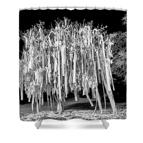 Rolled Tree Blk N White Shower Curtain