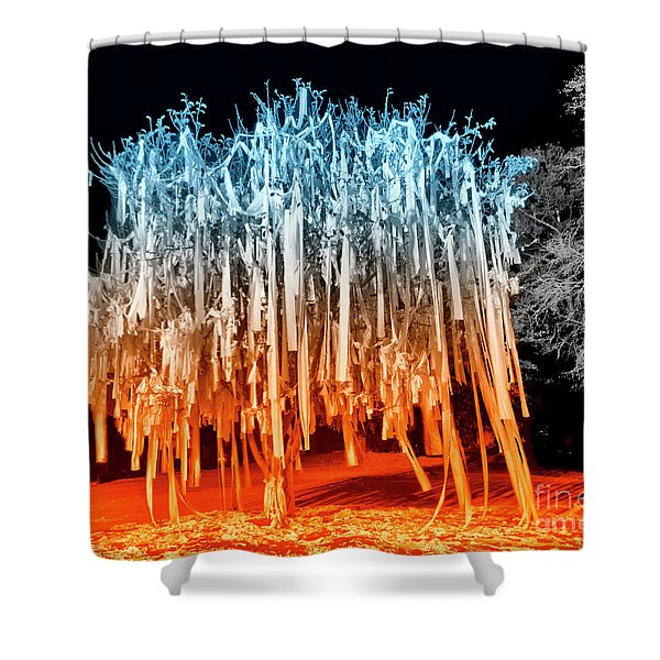 Rolled Tree Orangenblue Shower Curtain