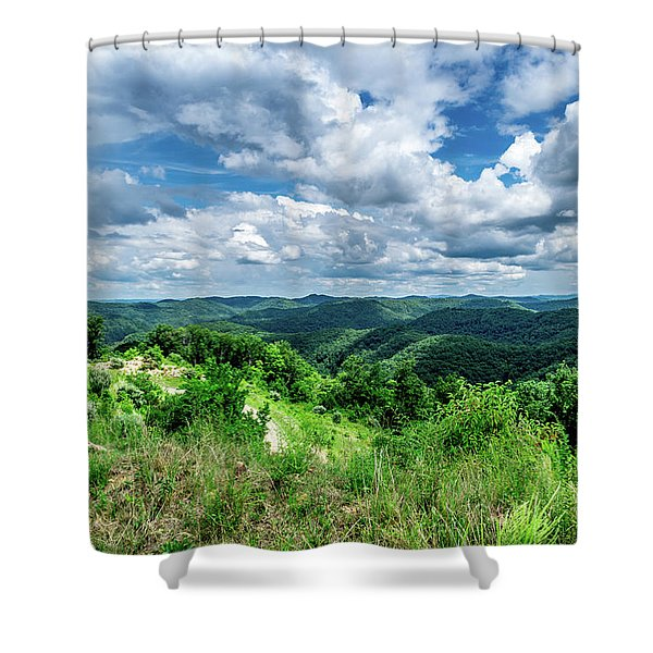 Shower Curtain featuring the photograph Rolling Hills And Puffy Clouds by Lester Plank