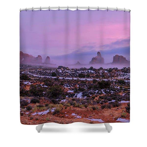 Rolling Mist Through Arches Shower Curtain