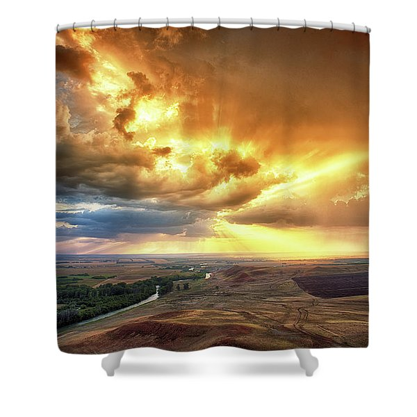 Rolling Rain Of Summer Sunset Shower Curtain