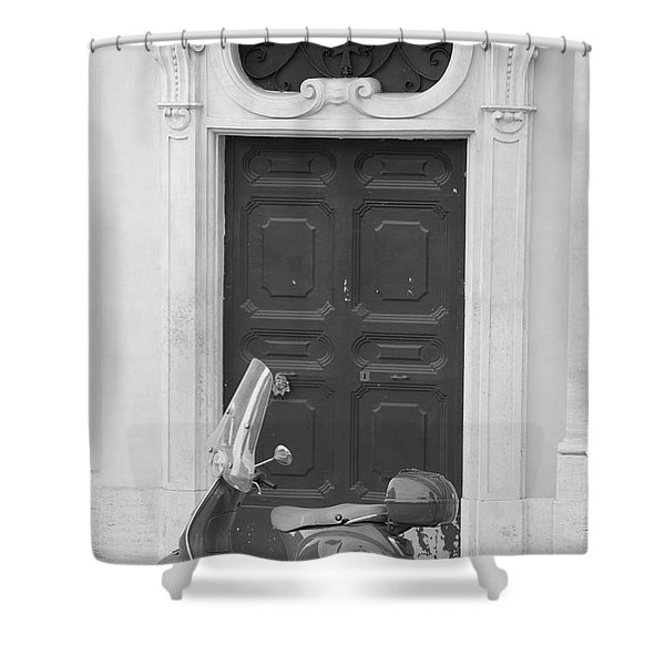 Roma Vespa And Door  Shower Curtain