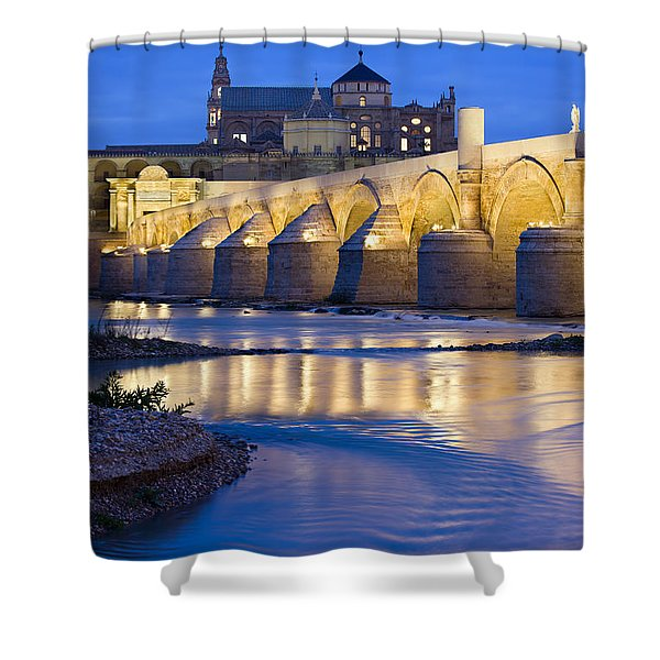 Roman Bridge On Guadalquivir River At Dawn Shower Curtain