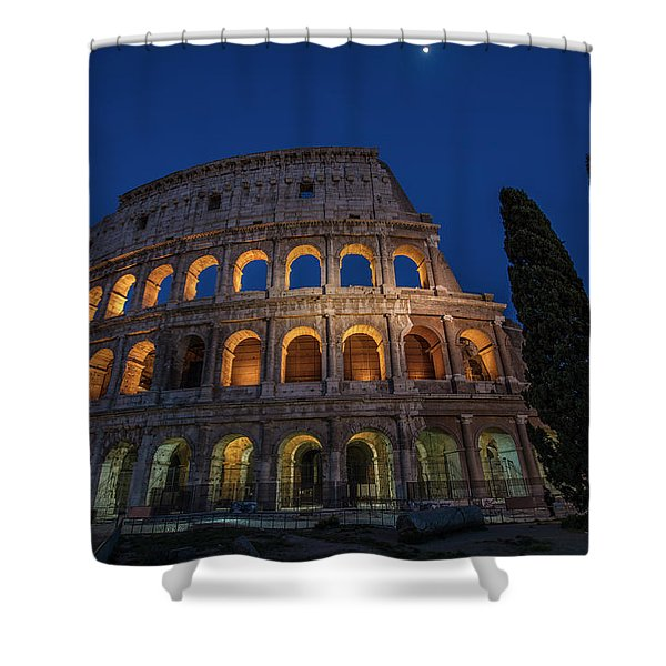 Roman Coliseum In The Evening  Shower Curtain