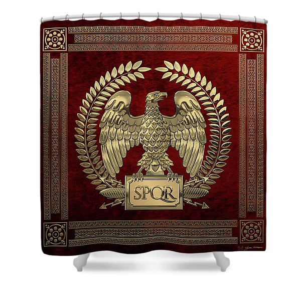 Roman Empire - Gold Imperial Eagle Over Red Velvet Shower Curtain