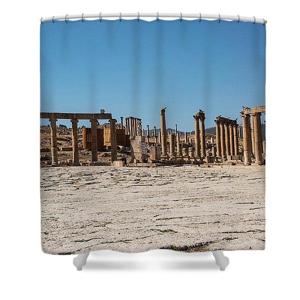 Shower Curtain featuring the photograph Roman Ruins At Ajloun by Mae Wertz