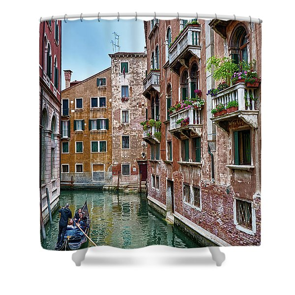 Gondola Ride Surrounded By Vintage Buildings In Venice, Italy Shower Curtain