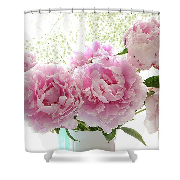 Romantic Dreamy Shabby Chic Cottage Pink Peonies Print - Peony Bouquet White Vase Shower Curtain