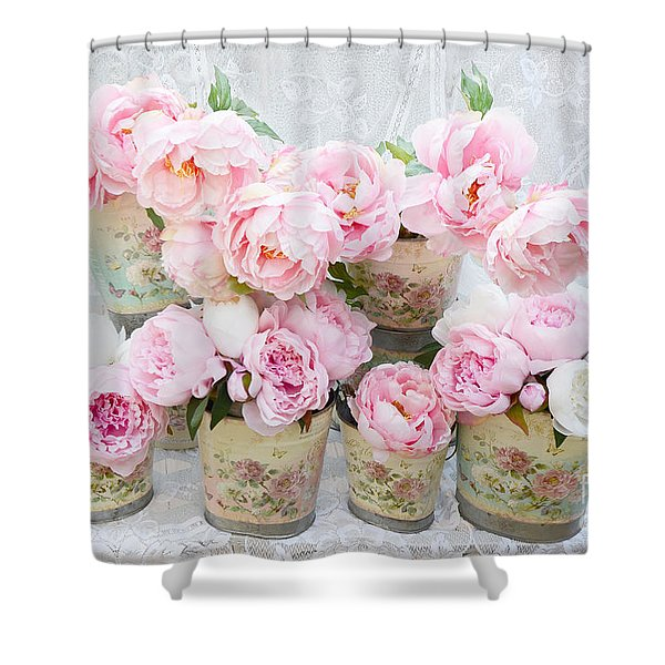 Romantic Peonies - Shabby Chic Cottage Garden Pink Peonies Shower Curtain