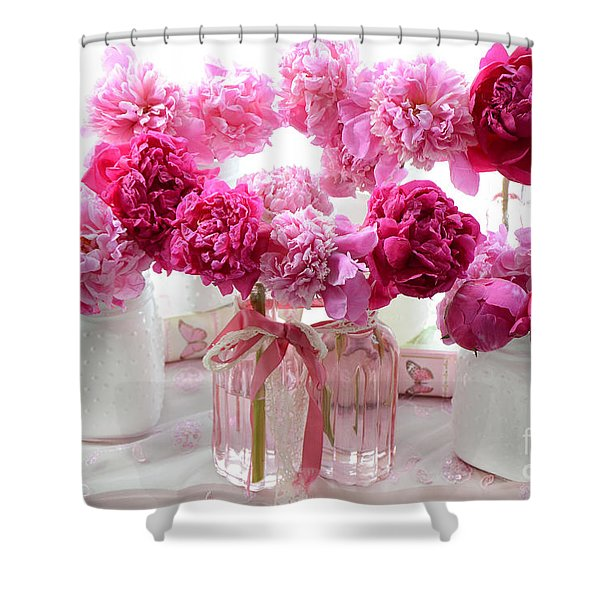 Pink Red White Peonies - Shabby Chic Valentine Red Peonies  Shower Curtain