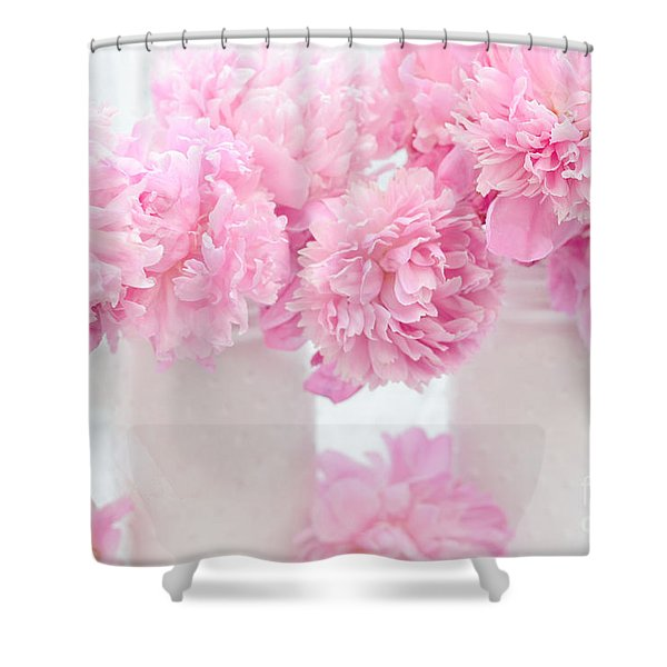 Shabby Chic Pastel Pink Peonies - Pink Peonies In White Mason Jars Shower Curtain