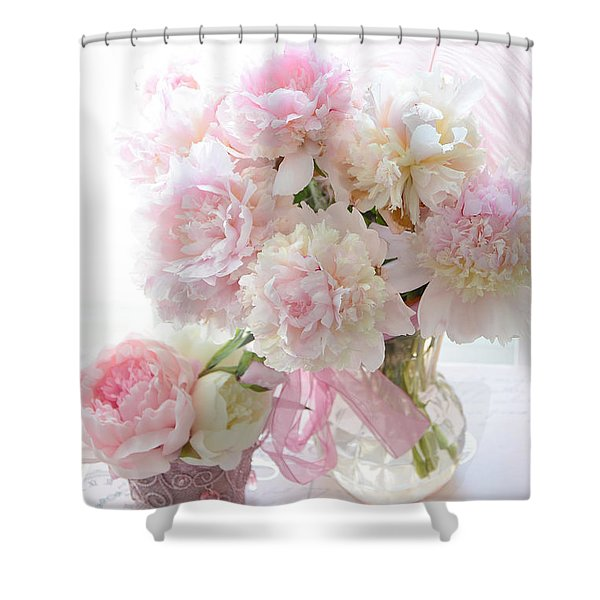 Shabby Chic Pink White Peonies - Shabby Chic Peonies Pastel Pink Dreamy Floral Wall Print Home Decor Shower Curtain