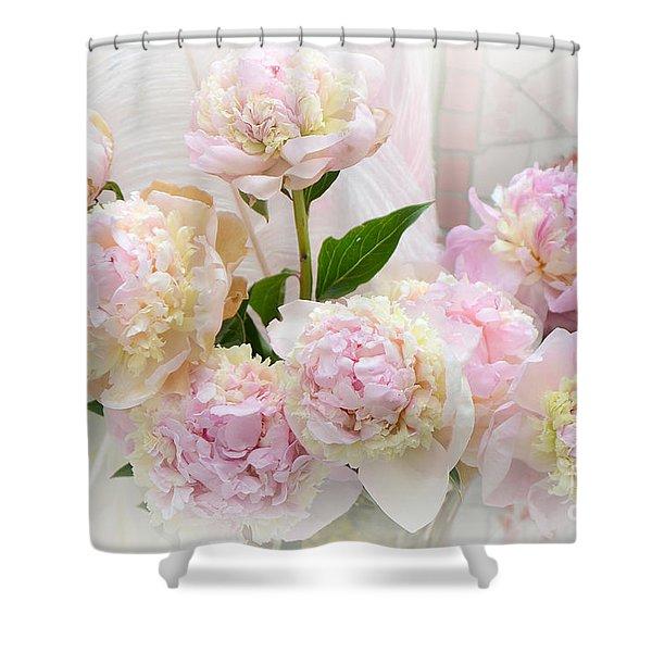 Romantic Shabby Chic Pink Yellow Peonies - Dreamy Pink Peonies  Shower Curtain