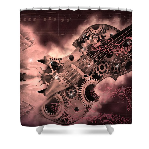 Romantic Stemapunk Violin Music Shower Curtain