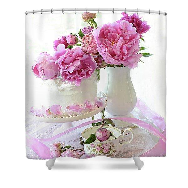 Romantic Pink Peonies Peony Cake Decor - Shabby Chic Cottage Peony Wall Decor  Shower Curtain