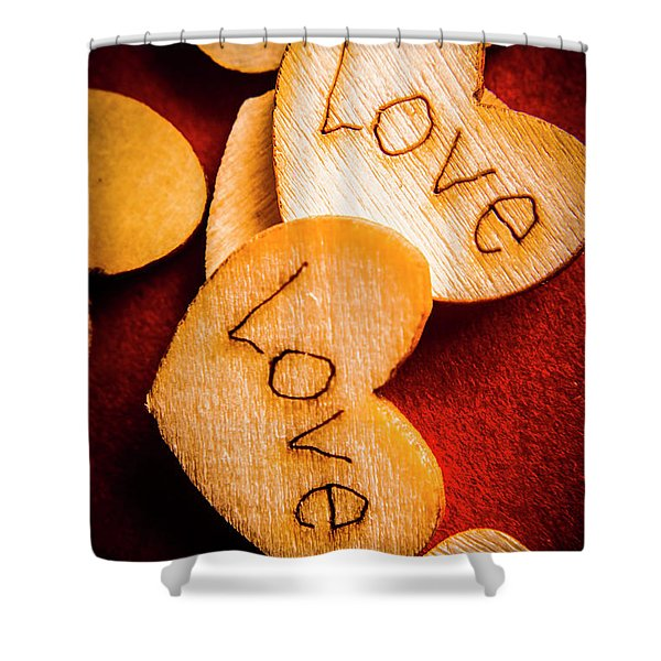 Romantic Wooden Hearts Shower Curtain