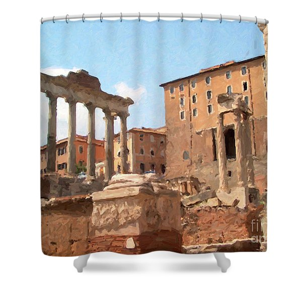 Shower Curtain featuring the mixed media Rome The Eternal City And Temples by Rosario Piazza
