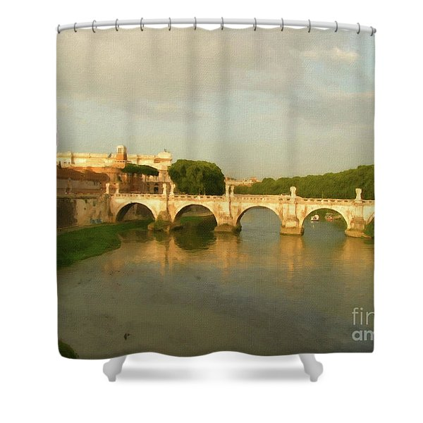 Rome The Eternal City And Tiber River Shower Curtain
