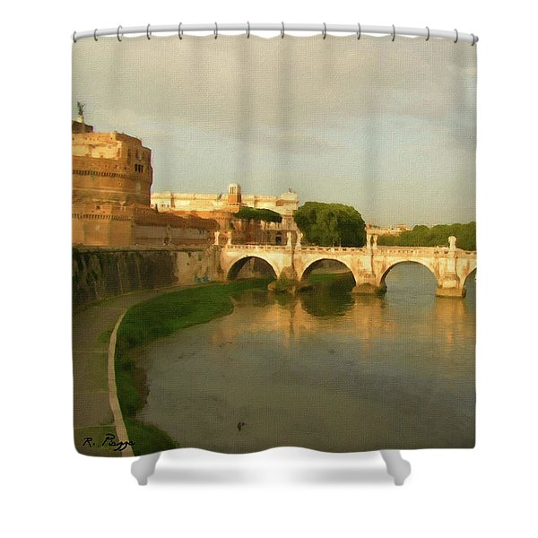 Shower Curtain featuring the painting Rome The Eternal City And Tiber River by Rosario Piazza