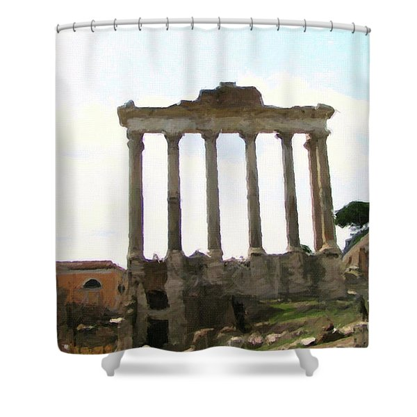 Shower Curtain featuring the mixed media Rome The Eternal City by Rosario Piazza