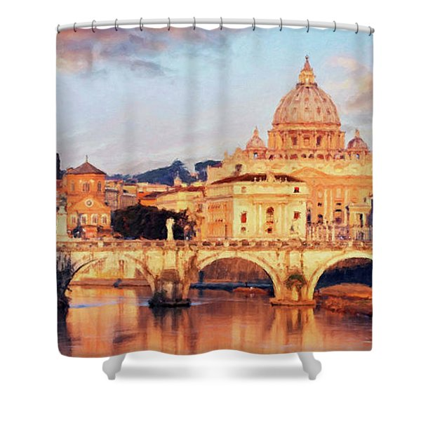 Shower Curtain featuring the mixed media Rome The Eternal City - Saint Peter From The Tiber by Rosario Piazza