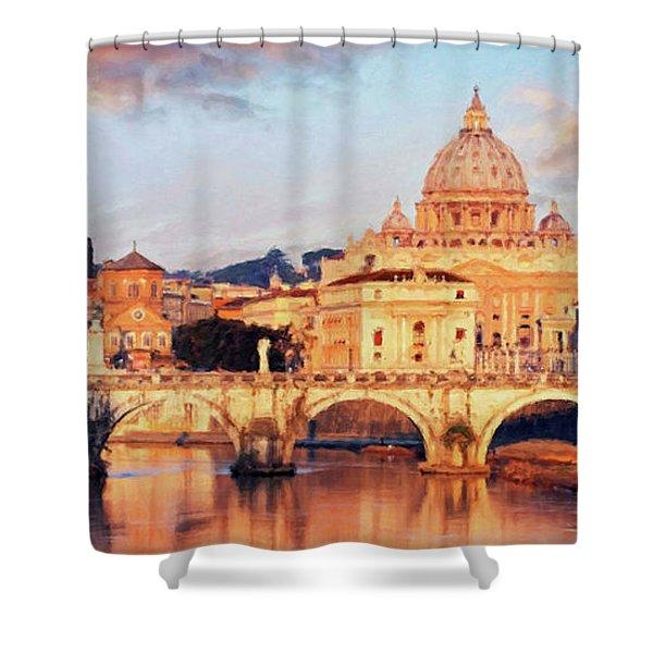 Rome The Eternal City - Saint Peter From The Tiber Shower Curtain