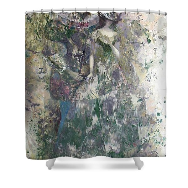 Romeo And Juliet. Monotype Shower Curtain
