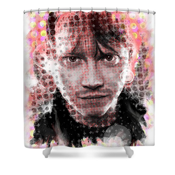 Ron Weasley Halftone Portrait Shower Curtain