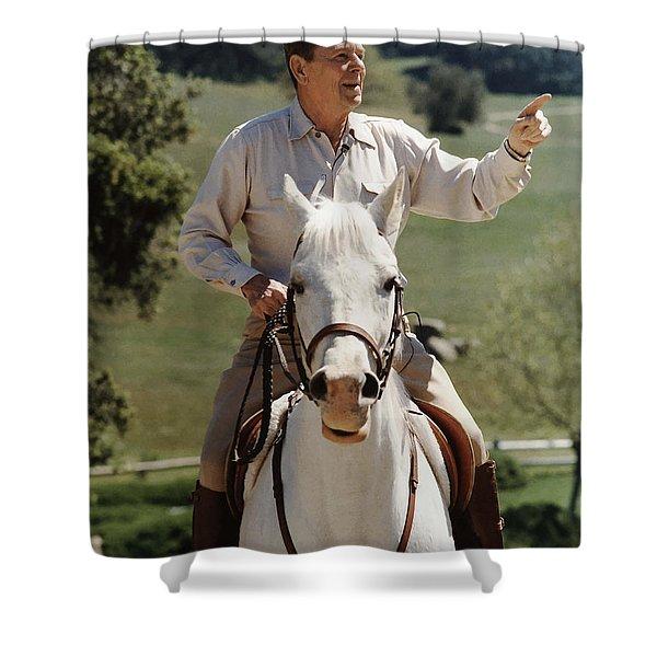 Ronald Reagan On Horseback  Shower Curtain