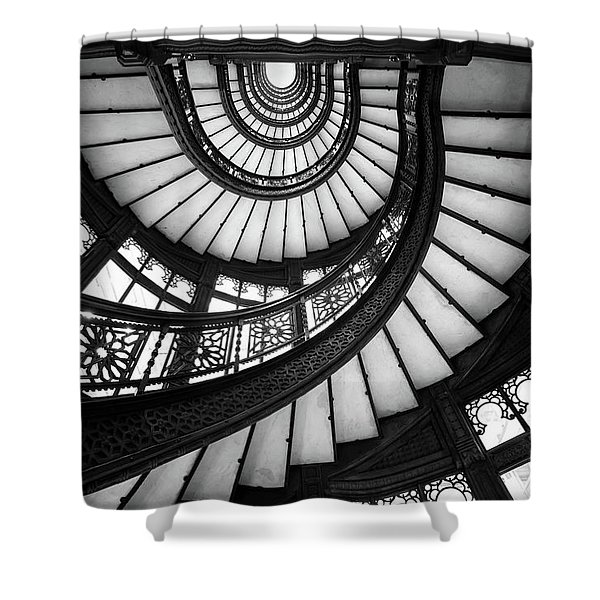 Rookery Black And White Shower Curtain