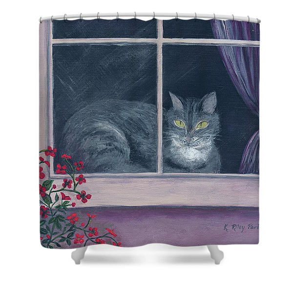 Shower Curtain featuring the painting Room With A View by Kathryn Riley Parker
