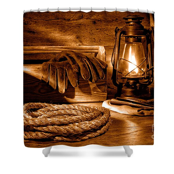 Rope And Tools In A Barn - Sepia Shower Curtain