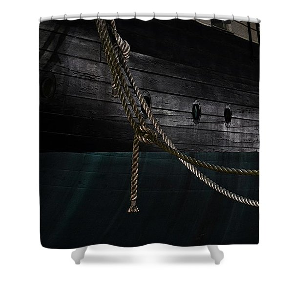 Ropes On The Uss Constellation Navy Ship Shower Curtain