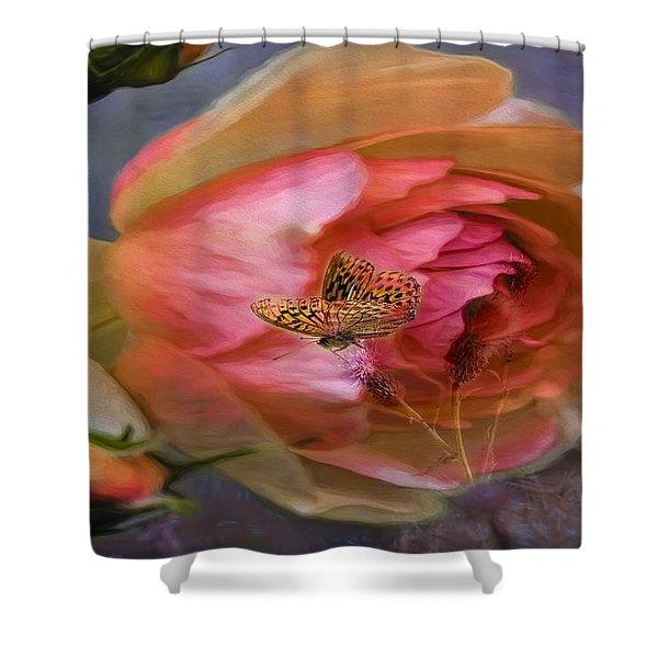 Rose Buttefly Shower Curtain