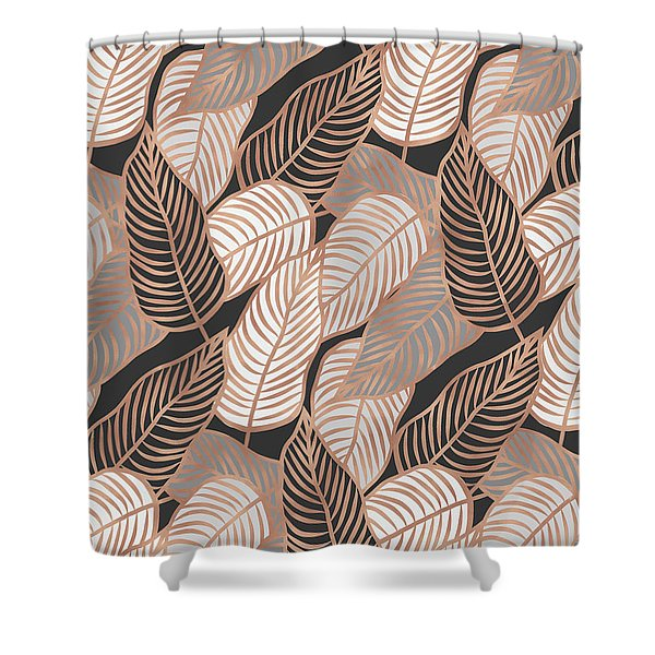 Rose Gold Jungle Leaves Shower Curtain