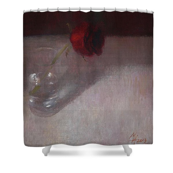 Rose In Glass Shower Curtain