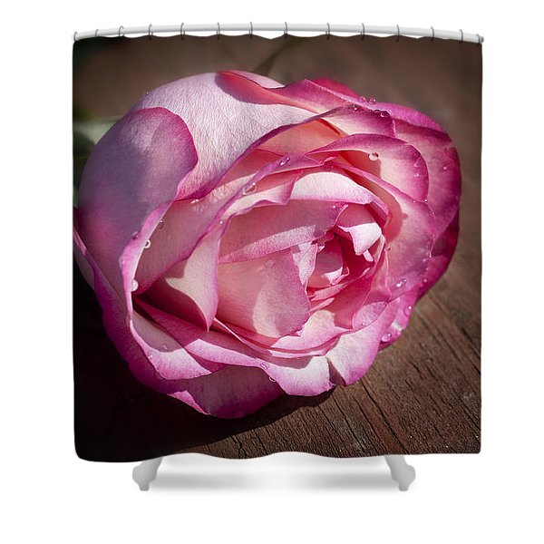 Rose On Wood Shower Curtain