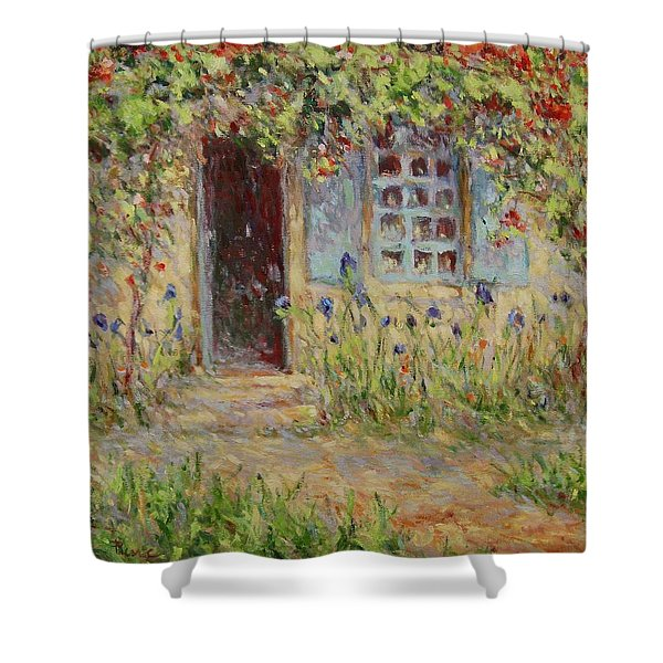 Rose Trees At The Front Of The House Shower Curtain