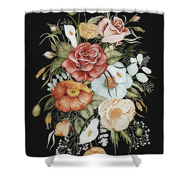 Roses And Poppies Bouquet Shower Curtain