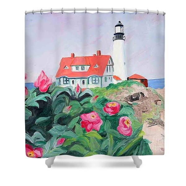 Roses At Portland Headlight Shower Curtain