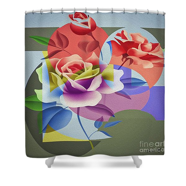Shower Curtain featuring the digital art Roses For Her by Eleni Mac Synodinos