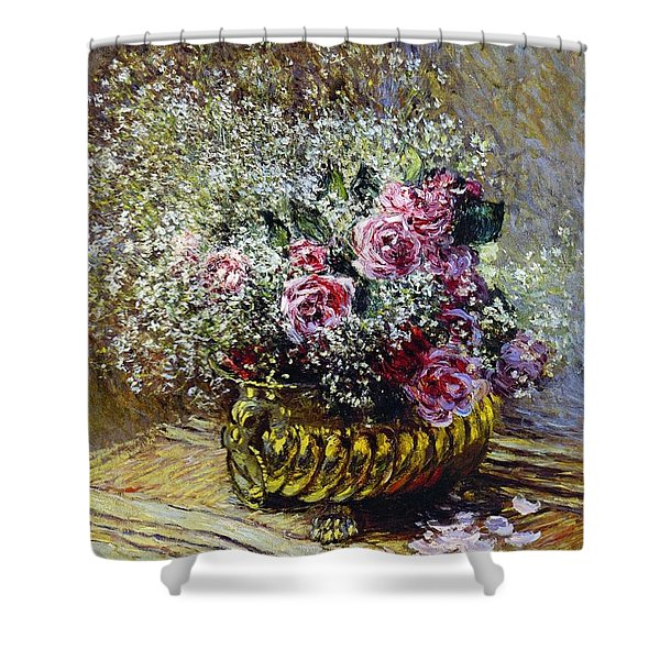 Roses In A Copper Vase Shower Curtain