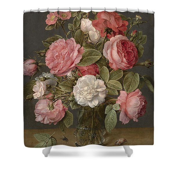Roses In A Glass Vase Shower Curtain