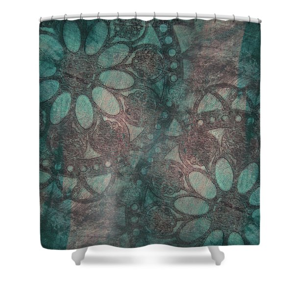 Rosette Stamps Shower Curtain